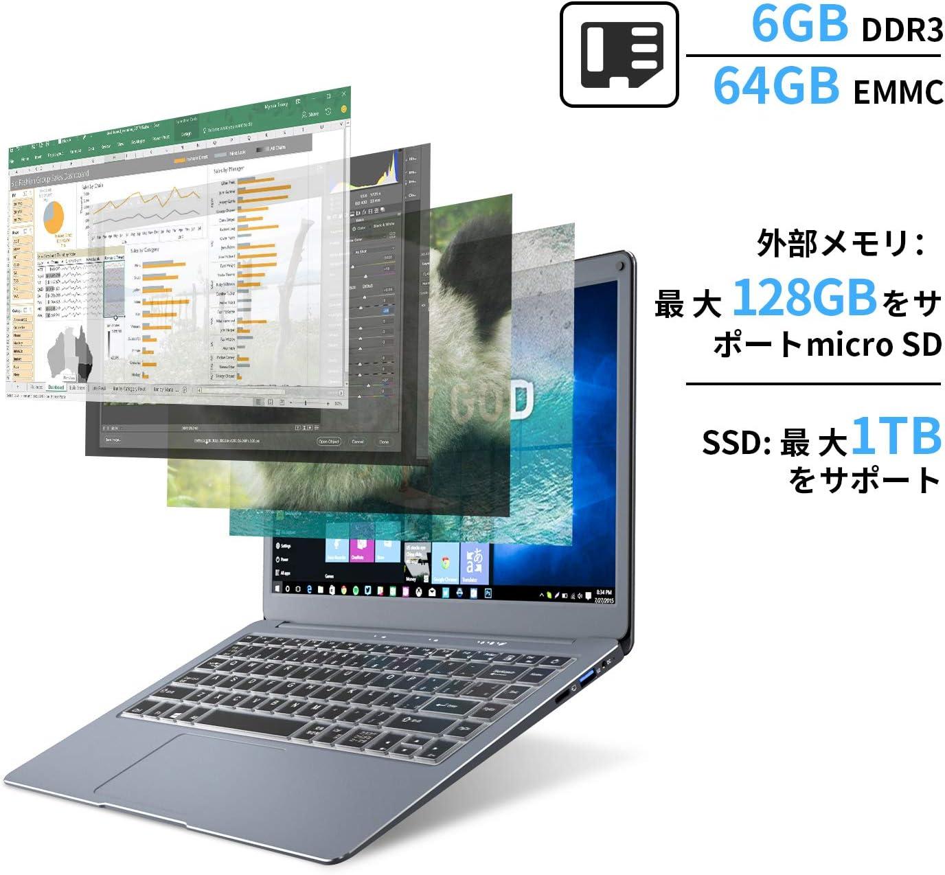 Jumperノートパソコン13.3インチ6GB 64GB/ 超薄型ノートPC Windows 10 / サポート128GB