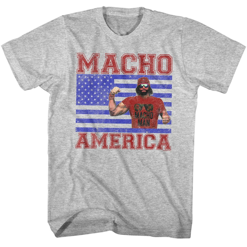 Macho Man WWF Macho America Adult T-Shirt Tee