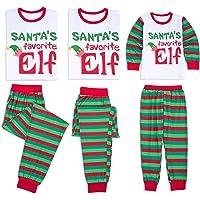 4adbe090e Family Matching Christmas Pajamas Set Xmas Santa Elf Print Tops Long Striped  Pants Sleepwear PJ Sets