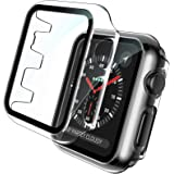 TOCOL 2 Pack Case Compatible with Apple Watch 38mm Series 3 2 1 with Built-in Tempered Glass Screen Protector, All-Around Ult