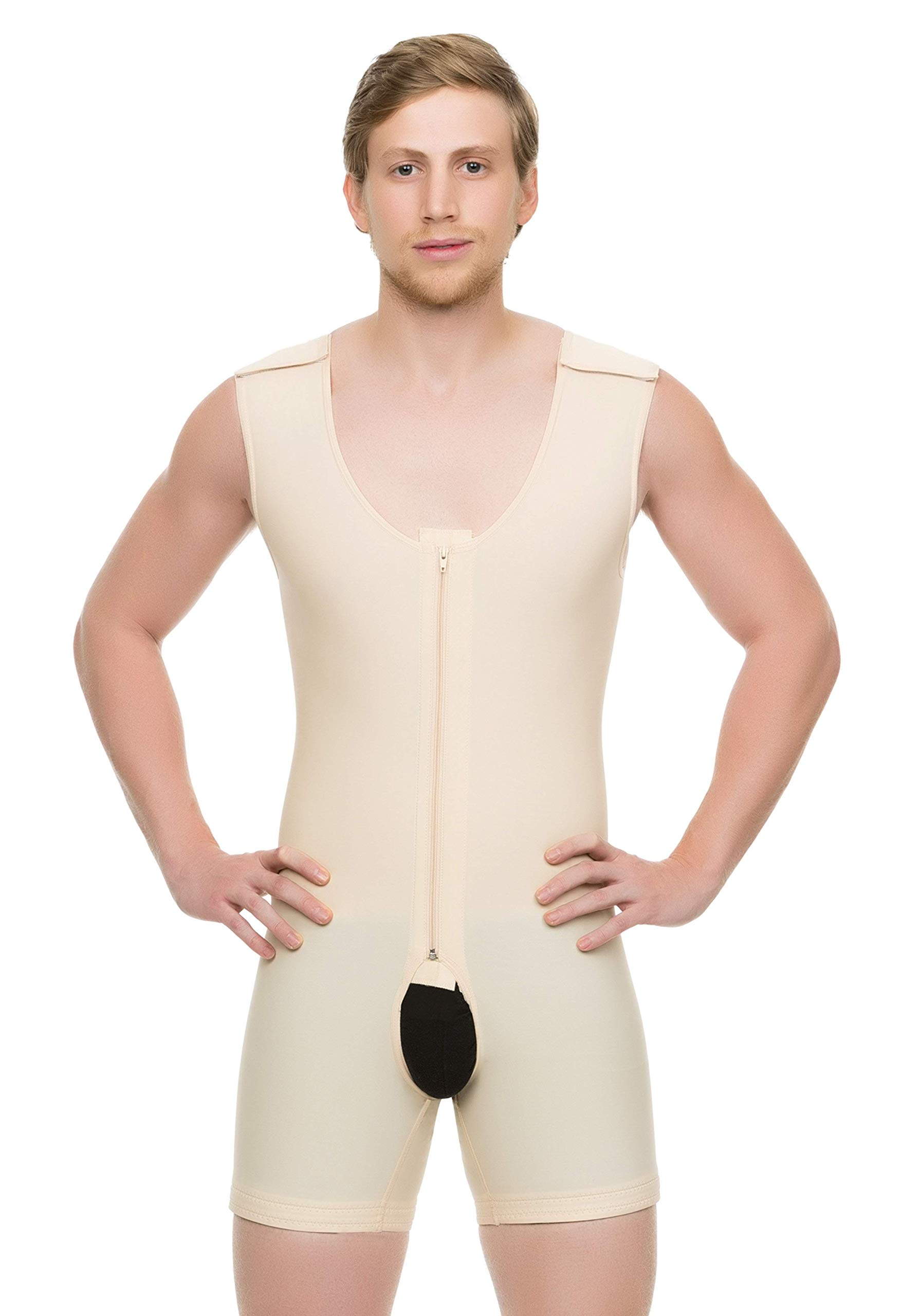 Isavela Male Full Body Mid Thigh Length Abdominal Cosmetic Surgery Compression Garment W/Zipper (Sleeveless) (MG02) (3XL, Beige)
