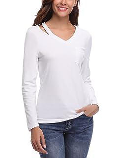 Tee Shirt Femme Coton Manches Longues Hauts Top Blouse Chic Tunique T Shirt  Casual Ample 5a8454b65d37