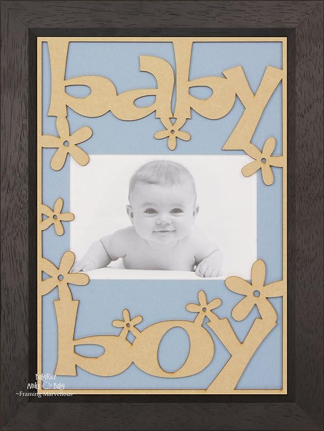 BabyRice Baby Boy mit Holz-Bilderrahmen, Farbe: Schwarz, Holz – mit ...