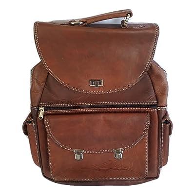 """15"""" Brown Vintage Leather Backpack Laptop Messenger Bag Rucksack Sling for Men Women"""