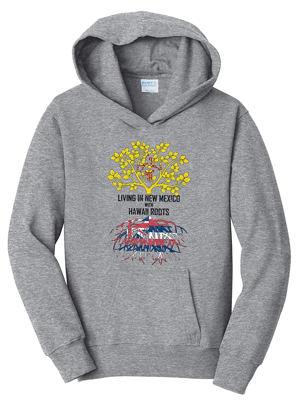Tenacitee Girls Living in New Mexico with Hawaii Roots Hooded Sweatshirt