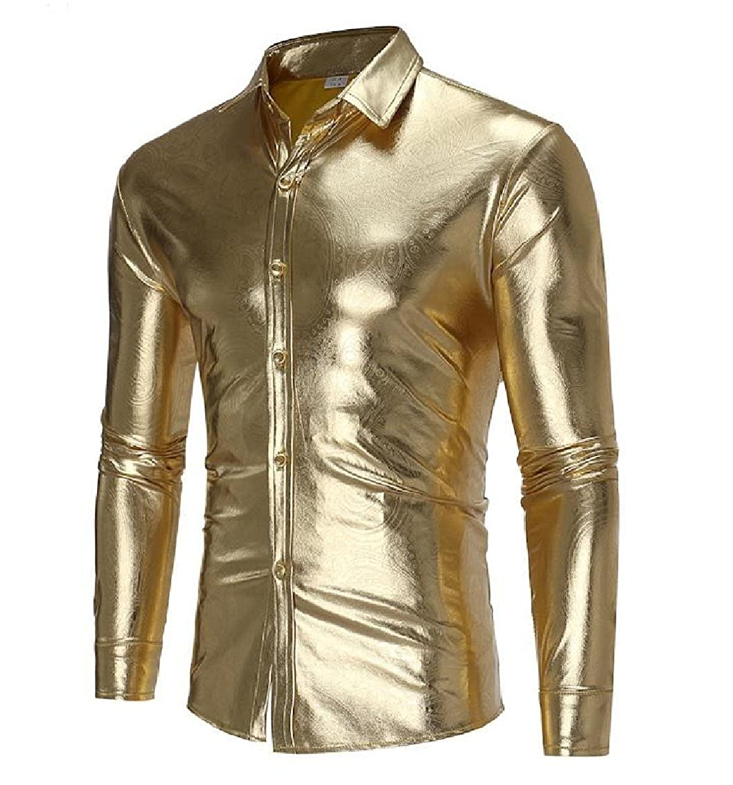 Godeyes Mens Glossy Washed Button Long-Sleeved Solid Comfort Dress Shirts Tops