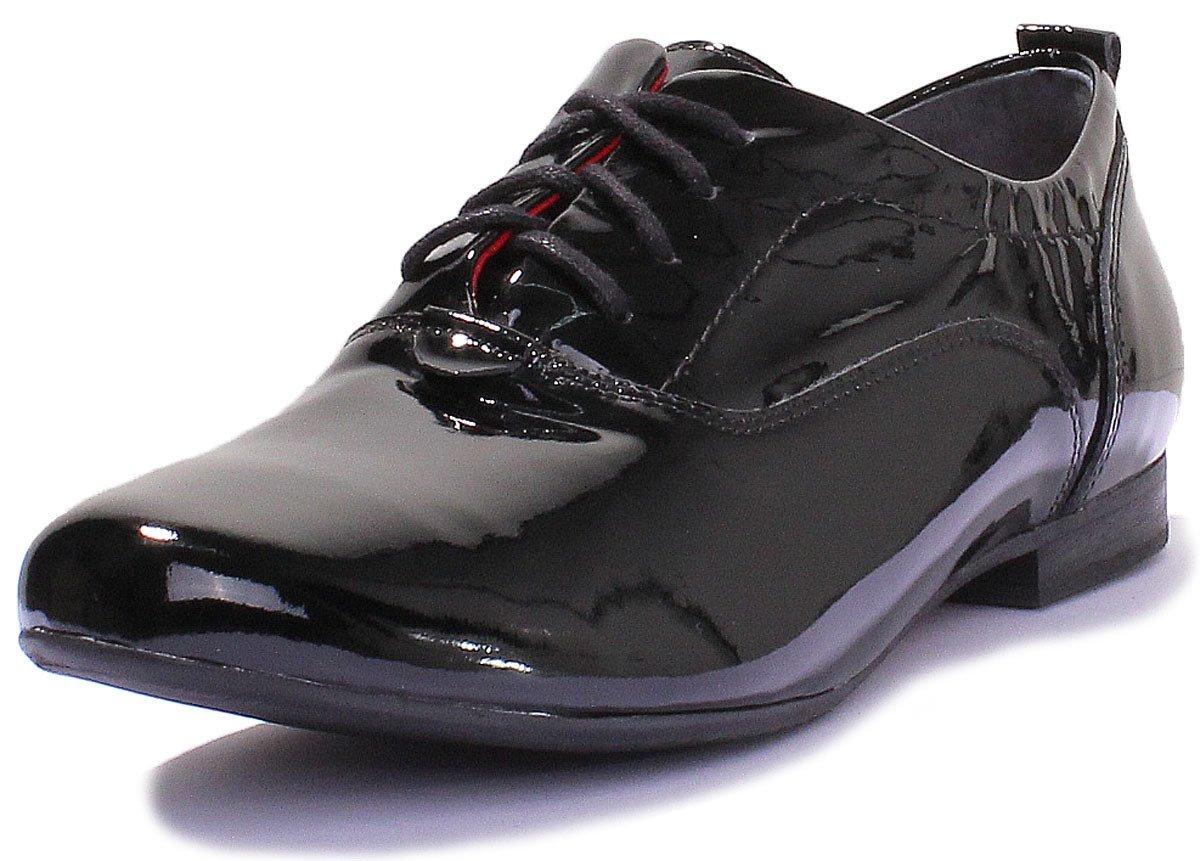 Justin Reece 5200 - Zapatos de Cordones de Piel para Mujer 37 1/3 EU|Negro (Black Patent)