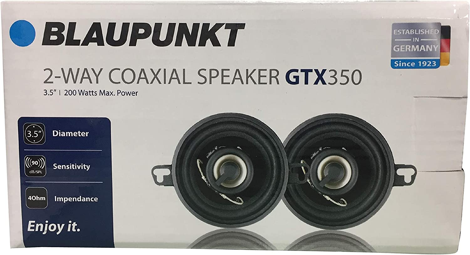 Blaupunkt GTX350 3.5-Inch 200W 2-Way Coaxial Car Audio Speaker Set of 2