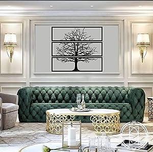 "Metal Tree Wall Art, Metal Tree Decor 3 Pieces, Tree Sign, Metal Wall Decor, Interior Decoration, Wall Hangings, 3 Panels (46""W x 49""H / 117x124 cm)"