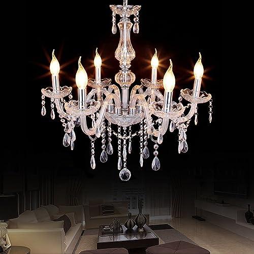 Ridgeyard 6 Lights Crystal Chandelier Modern 6 Arms Candle Chandeliers Living Room Lighting Ceiling Fixture Pendant Lamp Clear