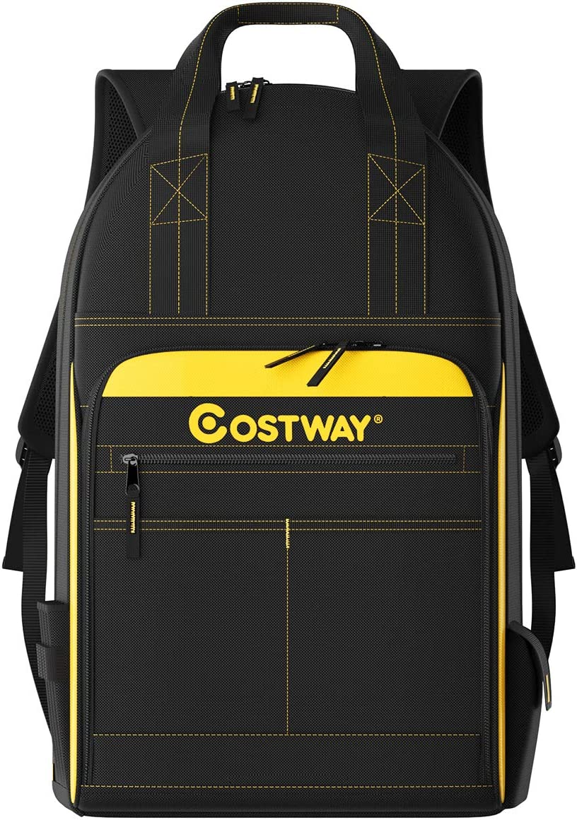 COSTWAY Tool Backpack, 48 Pockets, Jobsite Tool Bag, w/Carrying Handles, Tool Carrier, Padded Shoulder Straps, Perfect Storage & Organizer for a Contractor, Electrician, Plumber, HVAC