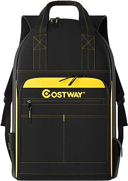Costway Werkzeug Rucksack 48 Taschen Werkzeugtasche Fur Bauunternehmer Elektriker Klempner Hvac Amazon De Baumarkt