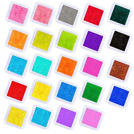 Meetory 24 Colors Ink Pads Rainbow Craft Finger Stamp For Kids Rubber Stamps Card Making Paper