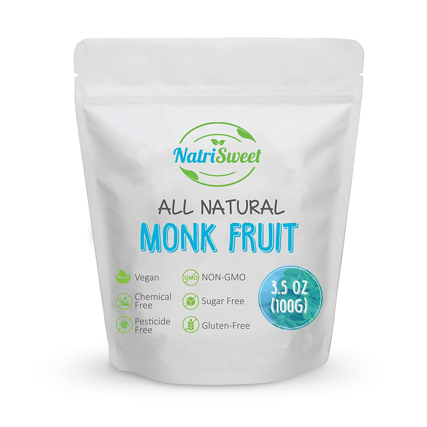 NatriSweet Monk Fruit Extract 3.5oz (100g) 322 Servings, Pure, Zero Calorie, Zero Carb, Natural Sweetener, Sugar Alternative, No Artificial Sweeteners, Perfect for Keto, Paleo & Low Carb Dieters