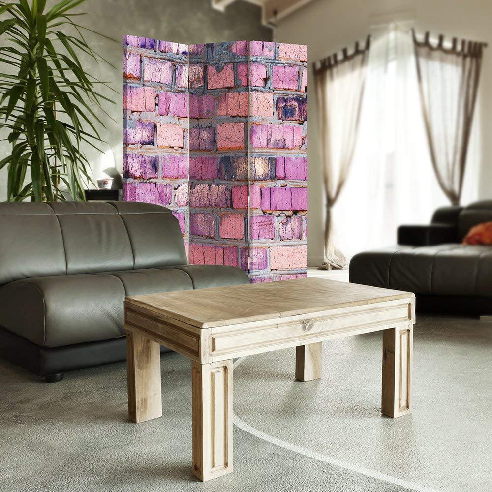 Feeby Frames LILA Ziegel Stein dekorative Trennwand Paravent einseitig Raumteiler 110x150 cm Gedruckten auf/ Canvas 3 teilig Wand Leinwand Wandschirme