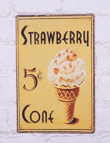 Amazon.com: Strawberry Ice Cream Tin Retro Pub Bar Wall Poster Metal ...