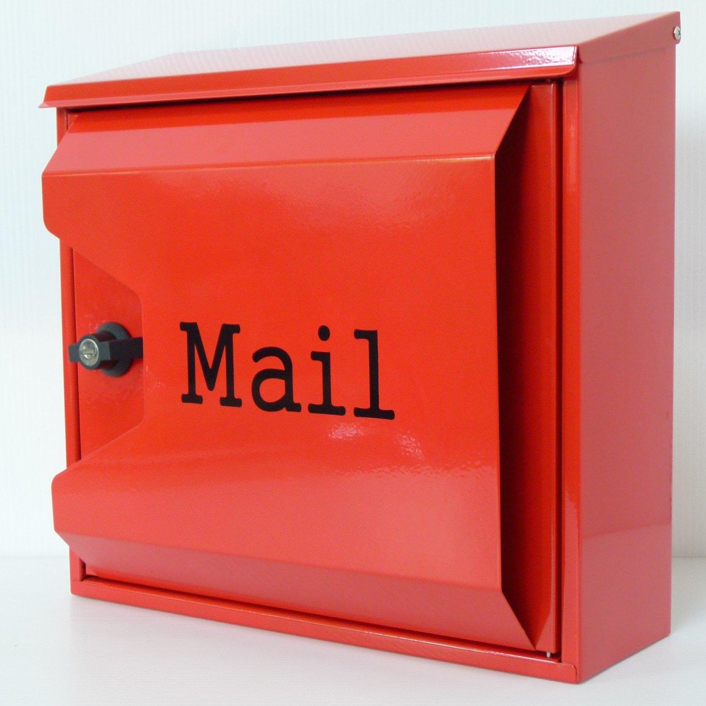 郵便ポスト郵便受け北欧モダンデザイン大型メールボックス 壁掛けプレミアムステンレス レッド赤色ポストpm041 B0719LQKGY 12880