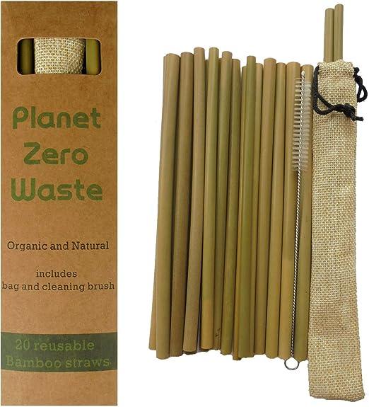 PlanetZeroWaste - 20 Pajitas de Bambú. 20 cm. Biodegradable ...