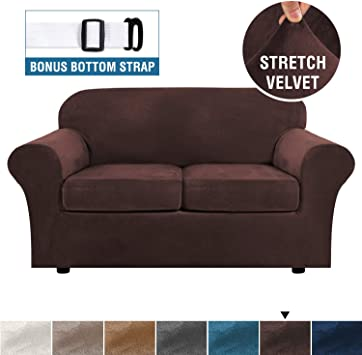 Real Velvet Plush 3 Piece Stretch Sofa Cover Velvet-Sofa Slipcover Loveseat  Cover Furniture Protector Couch Soft Loveseat Slipcover for 2 Cushion ...