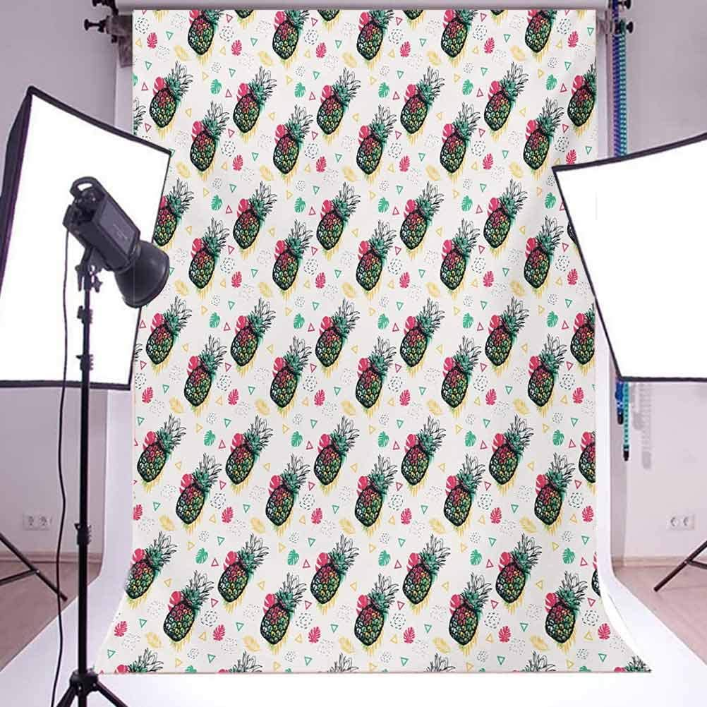 Pine 10x15 FT Backdrop Photographers,Hand Drawn Sketch Fruits with Colorful Triangles and Foliage Leaves Background Background for Party Home Decor Outdoorsy Theme Vinyl Shoot Props Multicolor