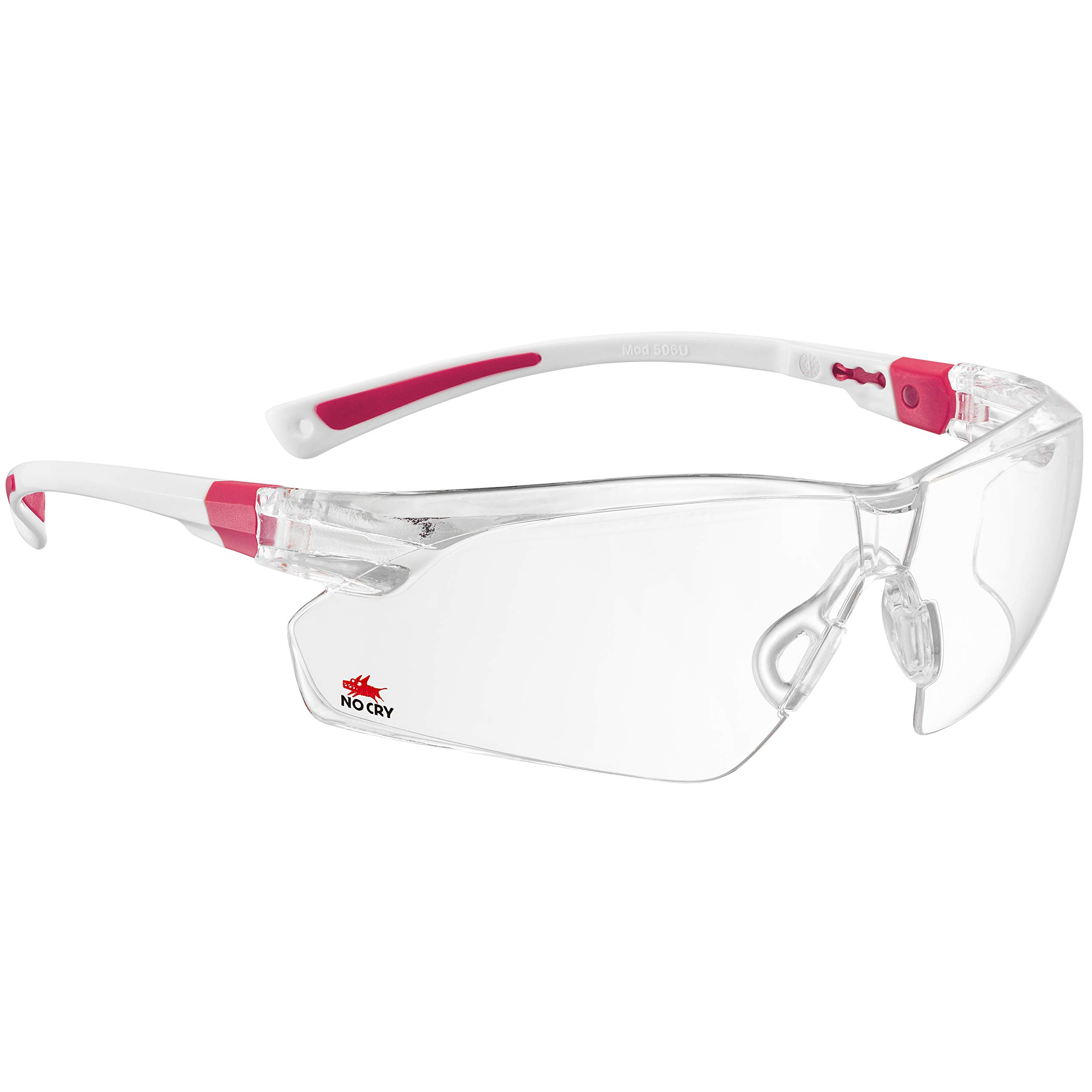 NoCry Safety Glasses with Clear Anti Fog Scratch Resistant Wrap-Around Lenses and No-Slip Grips, UV Protection. Adjustable, White & Pink Frames by NoCry