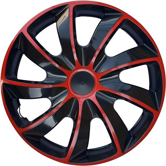 WoMa 14 Pollici x 4 copricerchi da 14 Set di copricerchi Creativ Quad Bicolore Rosso//Nero
