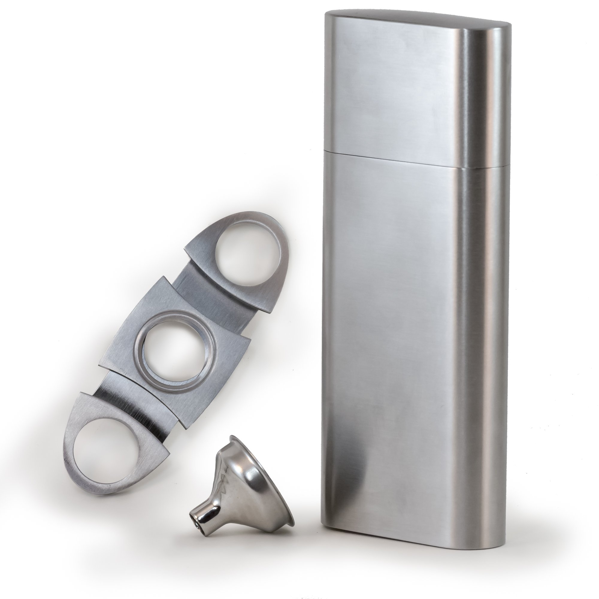 Perfect Pregame Cigar Flask Gift Set - 2 Cigar Holder and 2 Oz Stainless Steel Flask Combo - Includes Cigar Cutter and Funnel - Great Groomsmen Flask