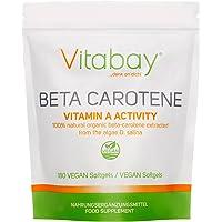 Beta carotene, 25.000unità internazionali, 180capsule molli adatte anche per vegani, precursore ad alto dosaggio della vitamina A, estratto naturalmente dall'alga Dunaliella salina