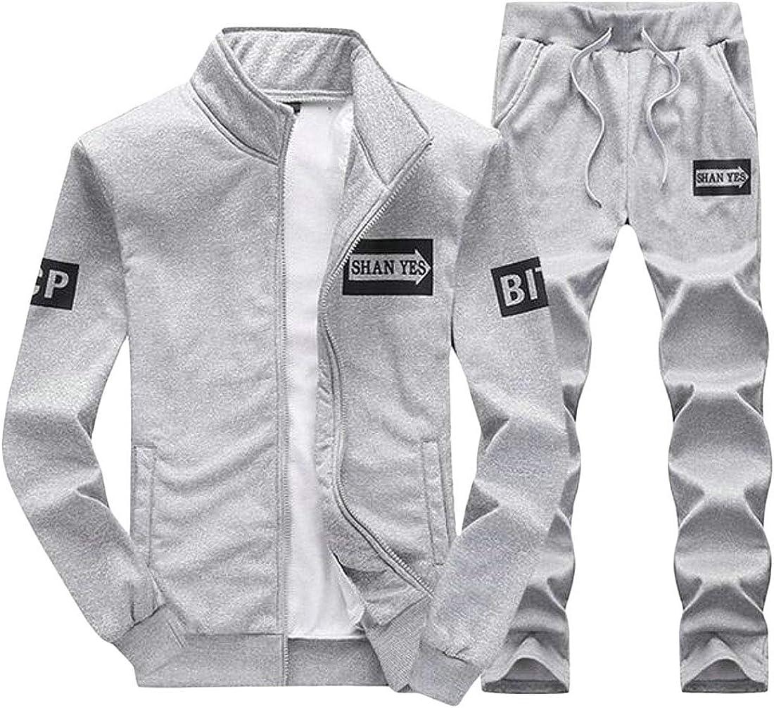 Fensajomon Mens Gym Sweatshirt Jacket Coat Pants 2 Pcs Outdoor Tracksuits