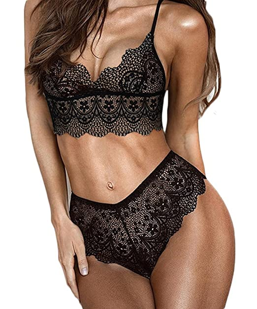 fcfffa3cd6 Faithtur Women s Embroidery Bra Set Lace Lingerie Bra and Panties (Label  XL US 8