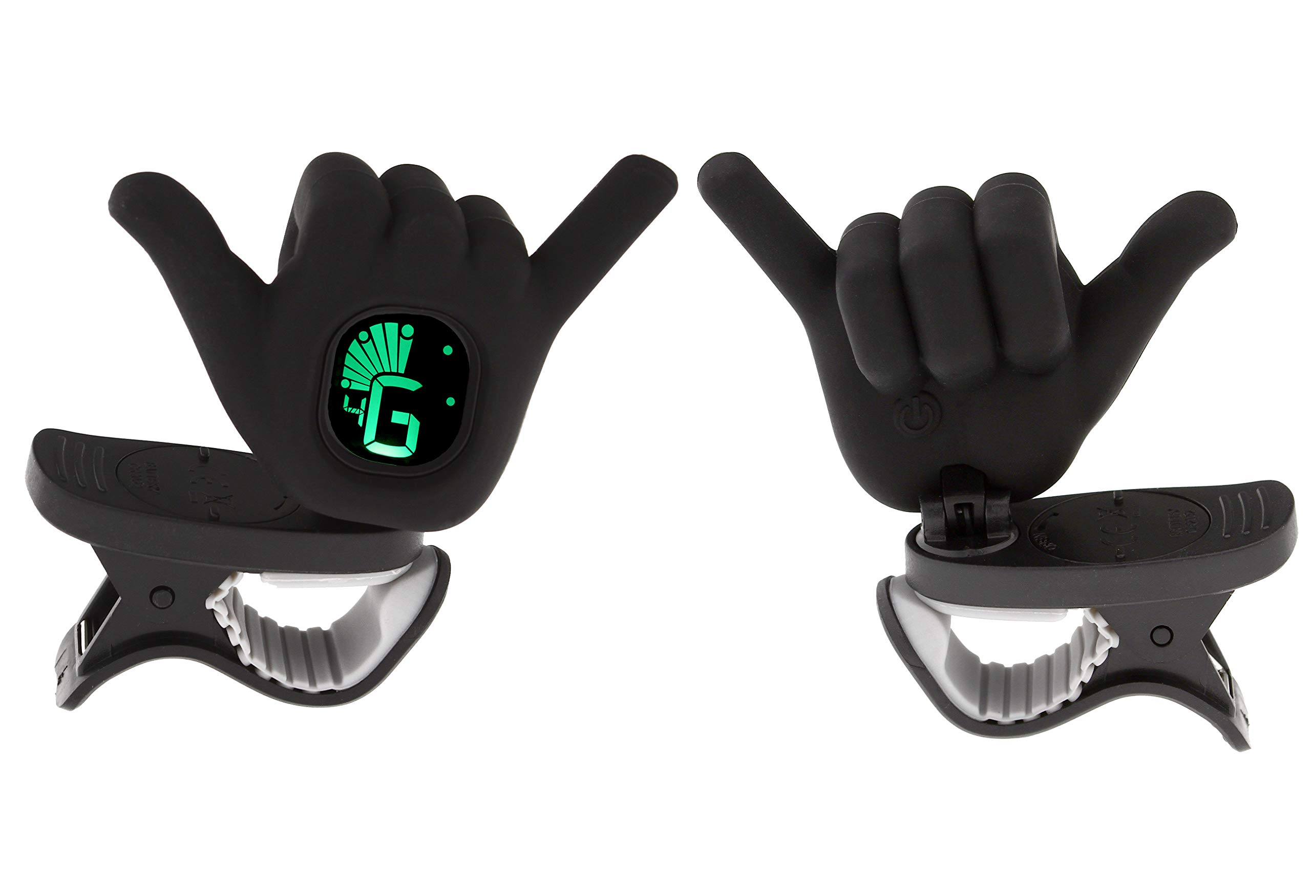 Hang Loose Shaka Hand Gesture Chromatic Clip On Tuner for Ukulele, Guitar, Bass, Violin (Black)