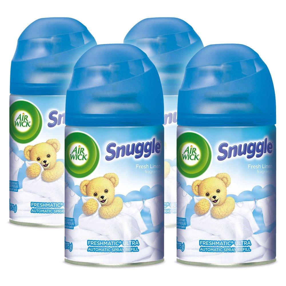 Air Wick Freshmatic 4 Refills Automatic Spray, Snuggle Fresh Linen, (4X6.17oz), Air Freshener