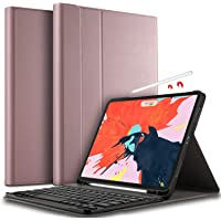 IVSO Tastatur Hülle für Apple iPad Pro 12.9 2018, [QWERTZ Deutsches], Ultradünn Ständer Schutzhülle mit magnetisch abnehmbar Wireless Tastatur für Apple iPad Pro 12.9 Zoll 2018, Rosegold
