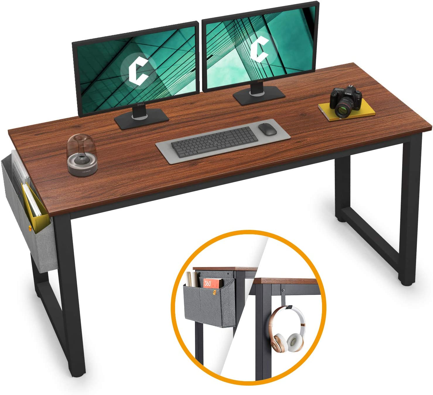 "Cubiker Computer Desk 47"" Sturdy Office Desk Modern Simple Style Table for Home Office, Notebook Writing Desk with Extra Strong Legs, Espresso"