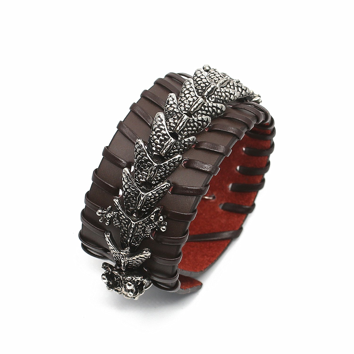 Holattio Mens Dragon Punk Rock Alloy Genuine Leather Belt Leather Bracelet Cuff Adjustable by Holattio