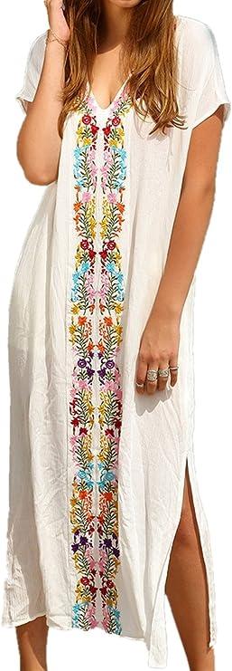 Imagen deAiJump Vestido de Playa Kaftan Kimonos Pareos Bohemia Cover Ups para Mujer