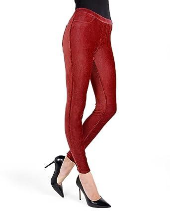 c586b46266f70 MeMoi Thin-Rib Stretch Corduroy Leggings | Women's Premium Leggings Biking  Red MQ 001 Small
