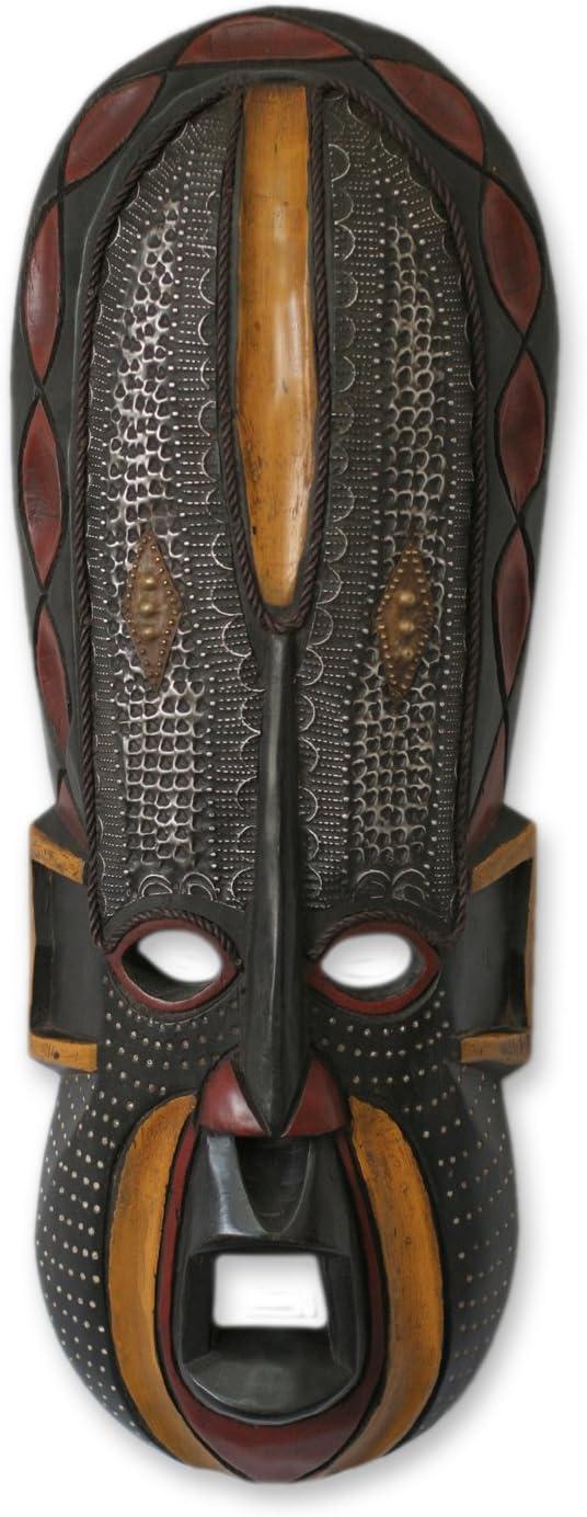 NOVICA Ghanaian Decorative Large Wood and Aluminum Mask, Black 'Akan Beauty'