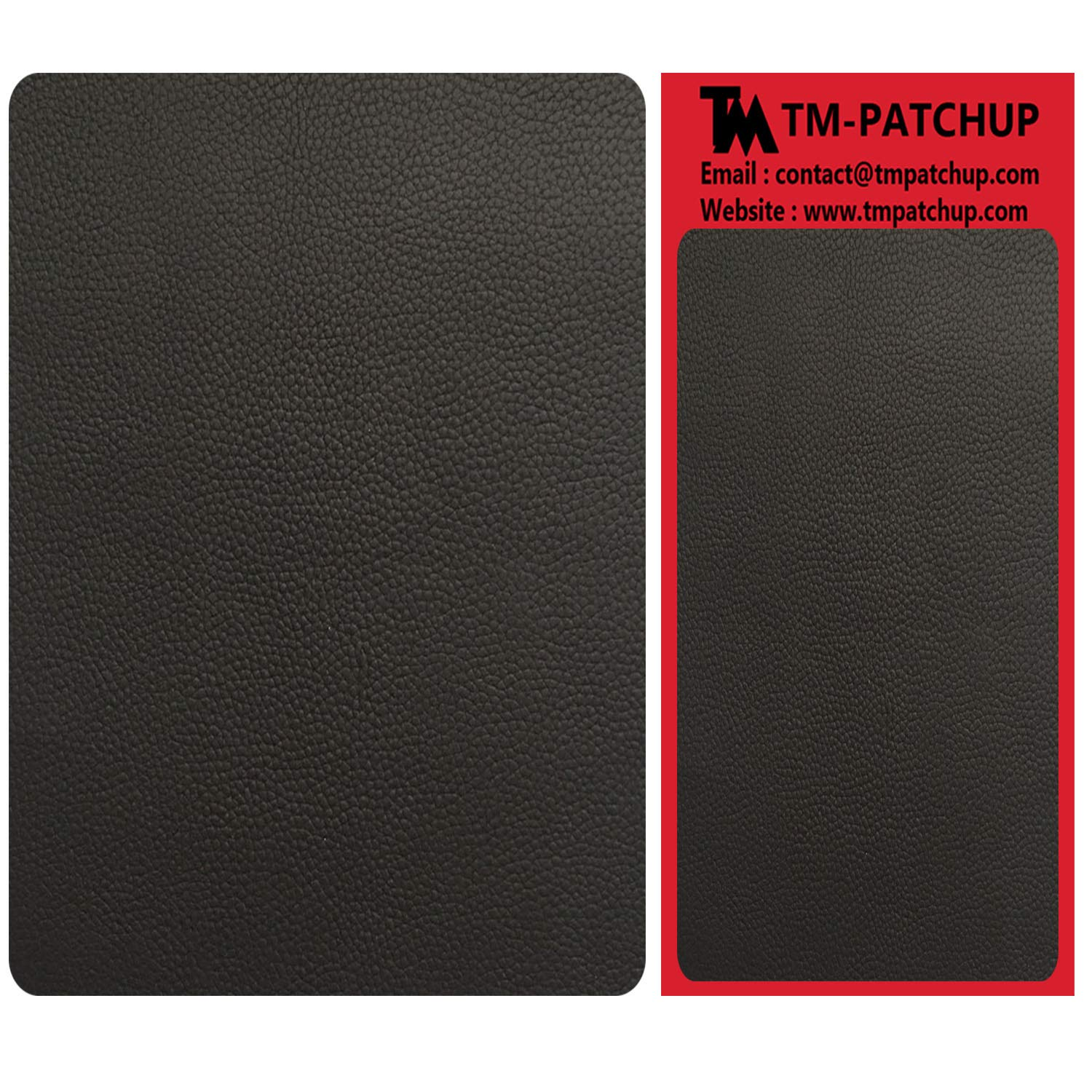 2 Pieces Black Leather and Vinyl Repair Patch by TMgroup, Genuine Faux Leather Repair Patch, Peel and Stick for Couch, Sofa, car seat, Hand Bag,Furniture, Jacket, Large Size 3'' x 6''