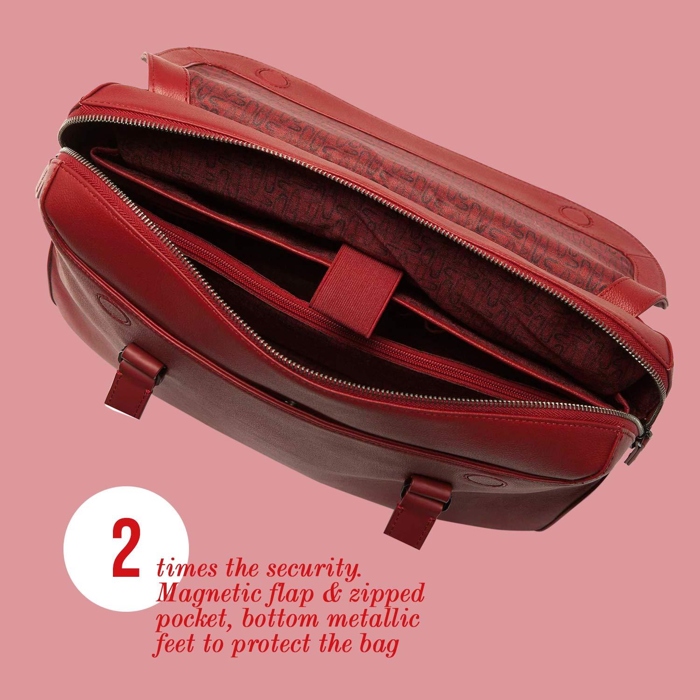 Lipault - Plume Elegance Tote Bag - 15.6'' Laptop Top Handle Shoulder Handbag for Women - Ruby by Lipault (Image #3)