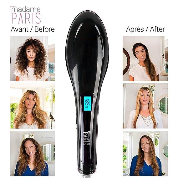 MadameParis Cepillo alisador de pelo - Edición ZOE Alisado ultra RÁPIDO - resultado natural - Todos tipos de cabellos - temperatura regulable ...