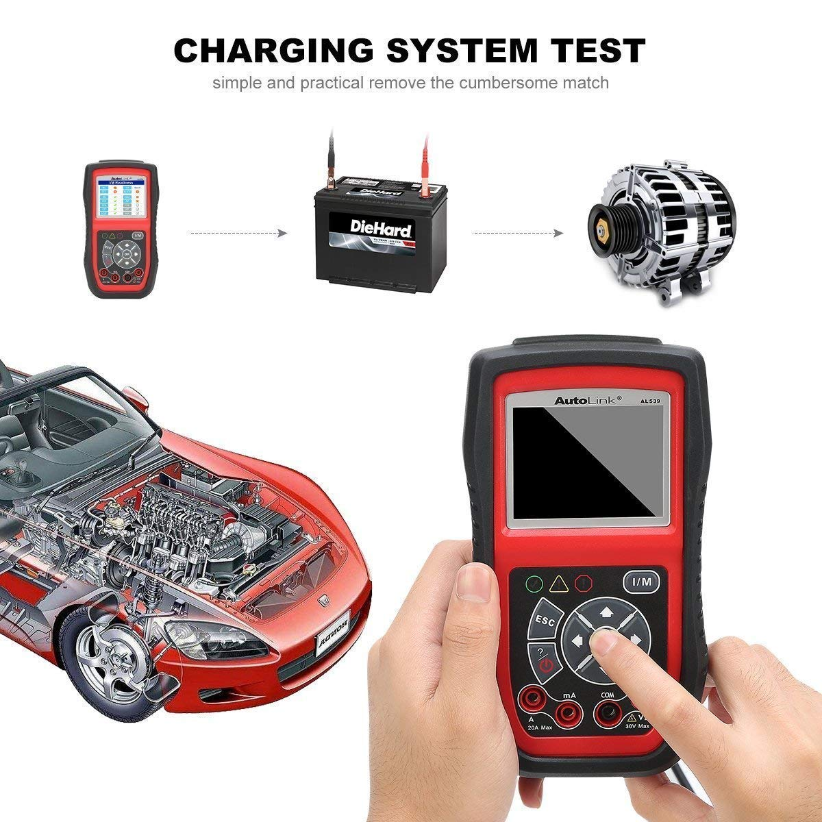Autel AutoLink AL539B OBDII Code Reader and Electrical Tool Supports Circuit Starting Charging System AL539 + Battery Test
