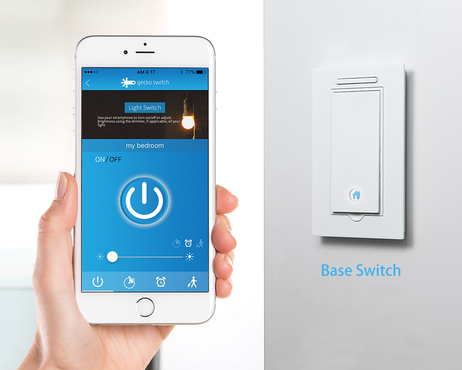 Base Switch Smart Wireless Light With Dimmer Function No Z Wave Wiring Neutral Wire Required