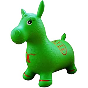 Green Horse Hopper, Pump Included (Inflatable Jumping Horse, Space Hopper, Ride-on Bouncy Animal)