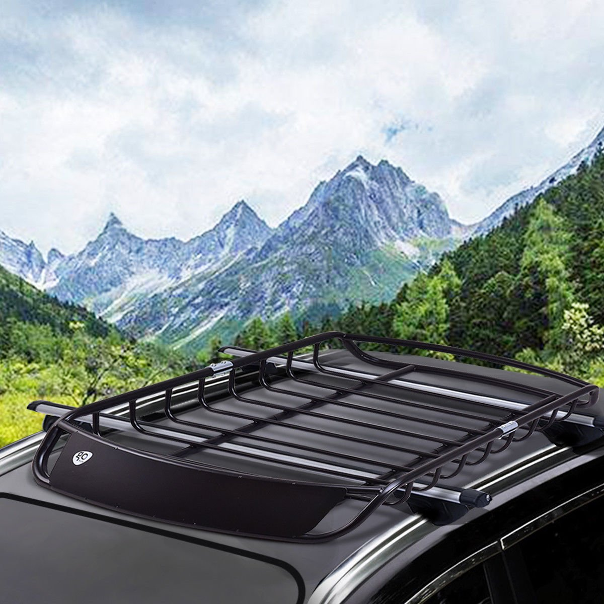 Goplus Universal Roof Cargo Rack Basket Heavy Duty Car Top Luggage Holder Carrier with 4 U-Bolts