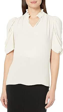 Marca Amazon - Lark & Ro - Blusa de media manga con cuello fruncido para mujer