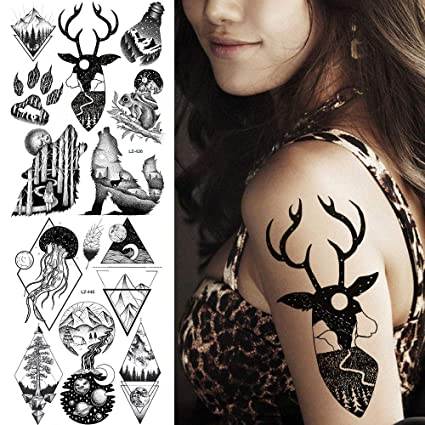 Tatuaje Falso Tatuaje Selva Negra Elk Cuerno Roar Lobo Tatuajes A ...
