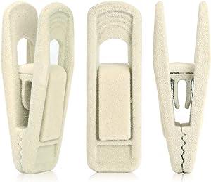 Tinfol Velvet Hangers Clips, 24 Pack Beige Pants Velvet Clips, Clothes Hanger Clip, Strong Finger Flocked Clips Perfect for Use with Slim-line Clothes Velvet Hangers