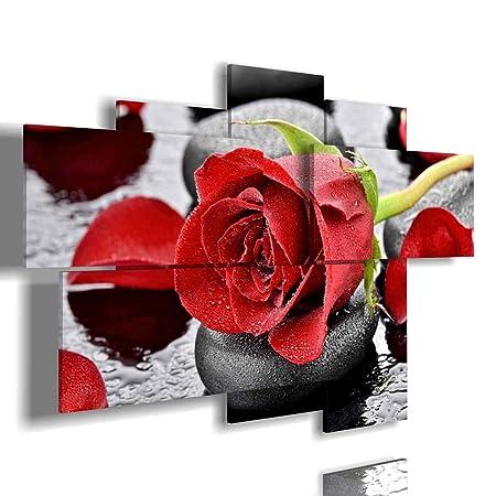 Quadri con Rose Rosse multilivello 3D Bianche di Moderni 3D Camera da Letto  Le Grandi Dimensioni Blu