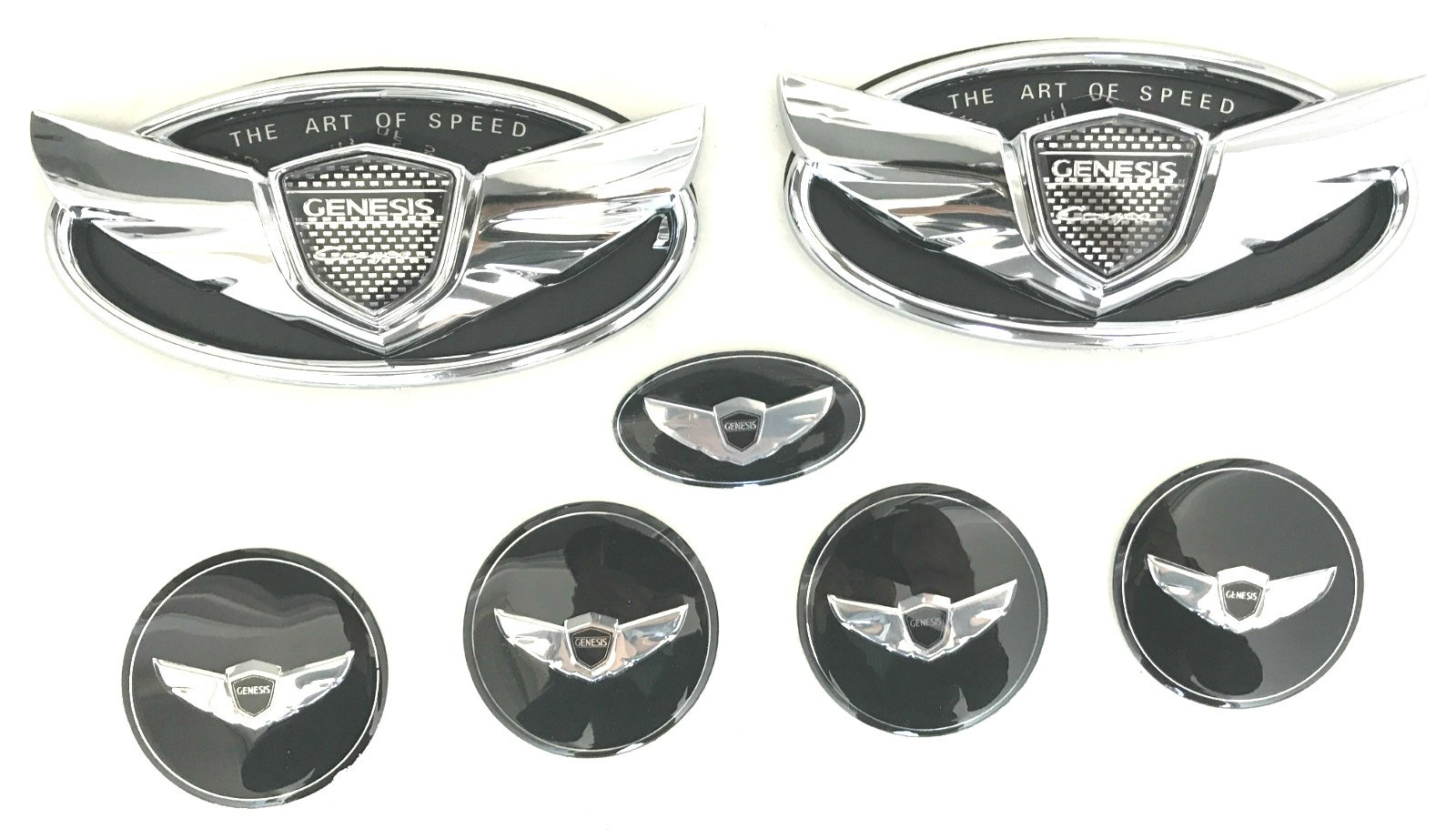 "Exotic Store 7 Pieces 2010-2017 Fit for Hyundai Genesis ""ART OF SPEED""Coupe Chrome Black WING Logo Front+ Trunk+ Steering wheel+ Rim center Caps Stickers TURBO Kit Emblem Badges (CHROME)"